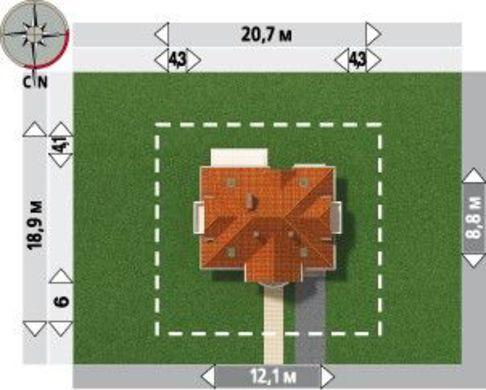 План двухэтажного коттеджа на 177 кв. м с симпатичным входным порталом и встроенным гаражом