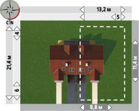 Планировка двухквартирного таунхауса на 190 кв. м с поэтажным функциональным разделением пространства