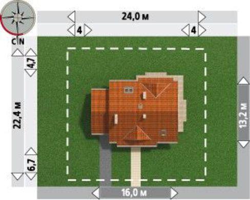 Удобная усадьба в два этажа с эркером, мансардными окнами и крытой верандой