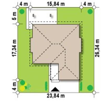 Проект стильного коттеджа с тремя спальнями и фронтальным гаражом