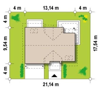 Интересный проект мансардного дома с гаражом