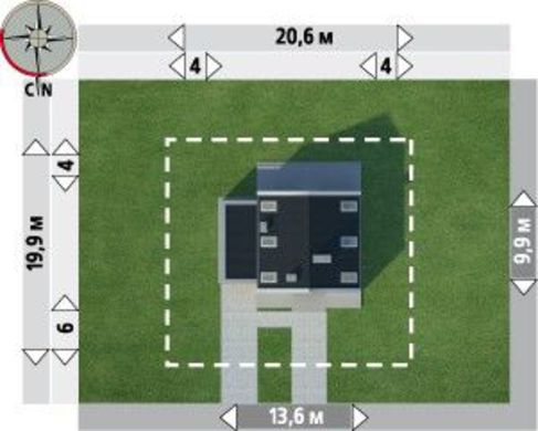 Проект современного особняка с просторной комнатой для санитарных процедур