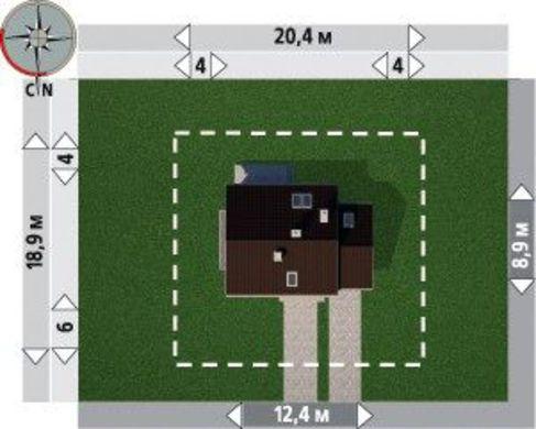 Проект строительства мансардного коттеджа с гаражом на 1 автомобиль
