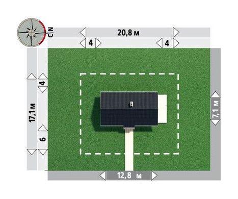 План одноэтажного загородного коттеджа для узкого участка