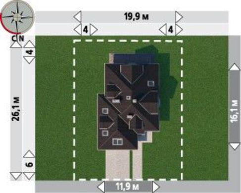 Коттедж с многоскатной крышей и гаражом для двух авто