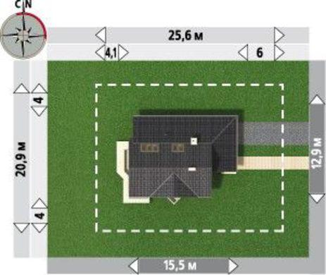 Двухэтажный коттедж со стильной террасой и встроенным гаражом