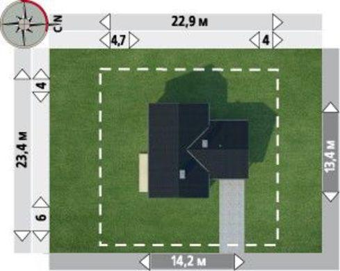 Планировка компактного дома в один этаж площадью 118 кв. м