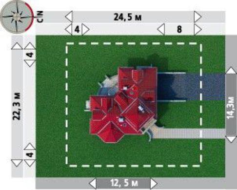 Проект особняка площадью 231 кв. м с подземным гаражом на два автомобиля