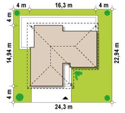 Функциональный проект одноэтажного дома с гаражом для 2 автомобилей
