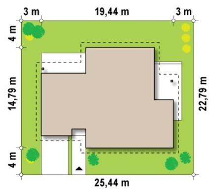 Симпатичный коттедж с многоскатной крышей