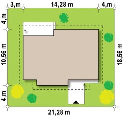 Проект 1 этажного коттеджа с многоскатной крышей