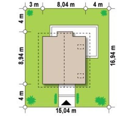 Проект негабаритного аккуратного дачного коттеджа с двускатной крышей