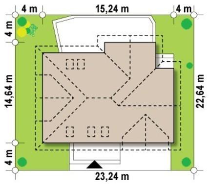 Проект 1,5-этажного коттеджа в традиционном стиле с двойным гаражом