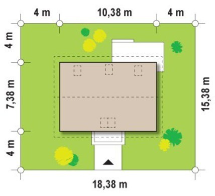 Проект практичного коттеджа с мансардой для небольшого участка