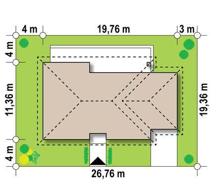 Проект одноэтажного коттеджа для узкого участка