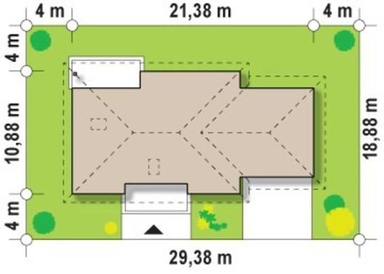 Проект одноэтажного коттеджа с двухместным гаражом