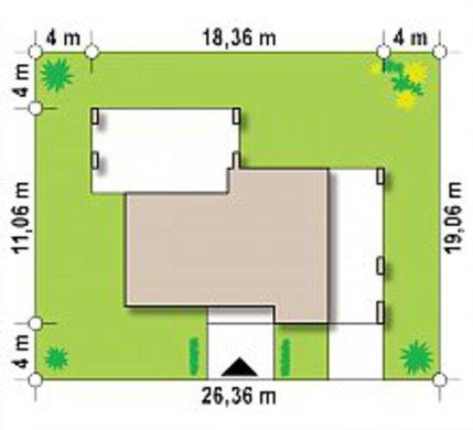 Одноэтажный коттедж с плоской крышей для узкого участка