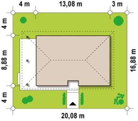 Проект аккуратного небольшого коттеджа с террасой