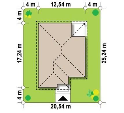 Проект уютного одноэтажного дома с угловой террасой