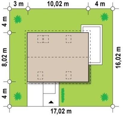 Проект 1,5-этажного дома с навесом для авто