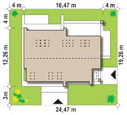 План коттеджа площадью 228 кв. м с просторными открытыми террасами