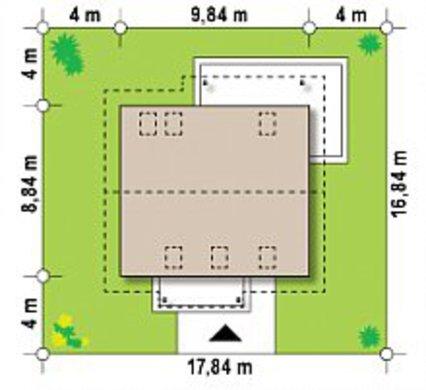 План дома площадью 133 кв. м под двухскатной крышей в европейском стиле