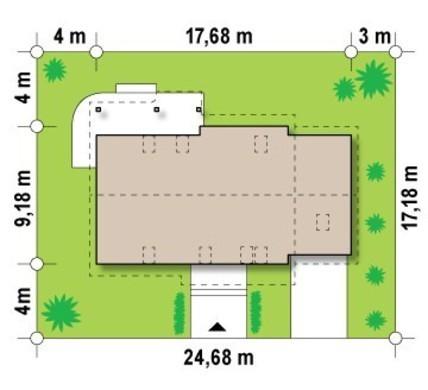 Проект просторного коттеджа с мансардой и одинарным гаражом