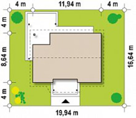 Чертеж дачного домика площадью 75 кв. м с двумя спальнями