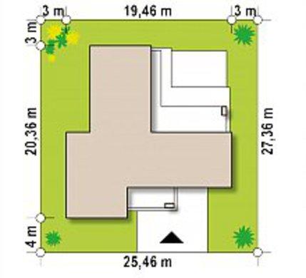 План симпатичного коттеджа на 180 кв. м с большим гостиным залом