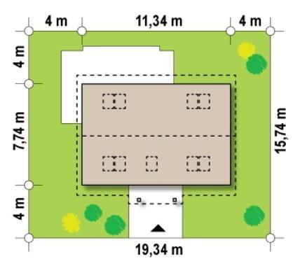 Чертеж великолепного дома на 149 кв. м с бело-шоколадной расцветкой