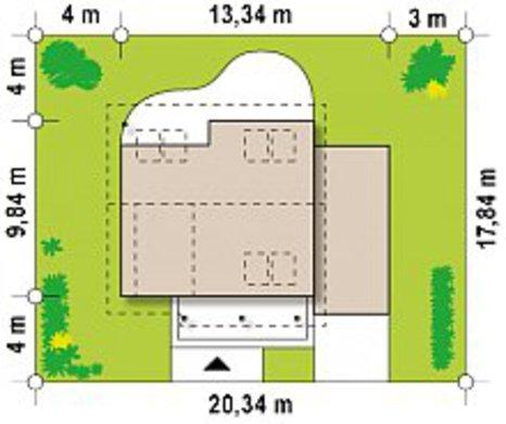 Планировка комфортабельного коттеджа на 151 кв. м с просторным гостиным залом