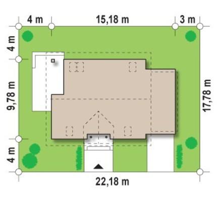 Проект просторного коттеджа с гаражом и оригинальной мансардой
