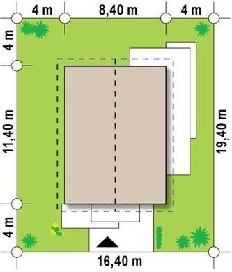 Проект небольшого одноэтажного коттеджа с входом сбоку