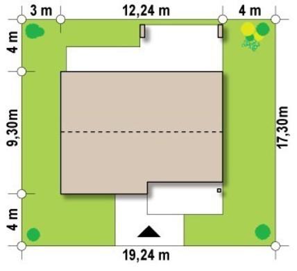 Проект одноэтажного коттеджа хай-тек с необычной террасой