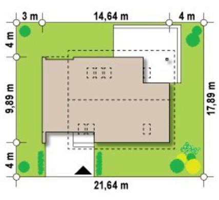 Проект небольшого дома с мансардой и гаражом с левой стороны