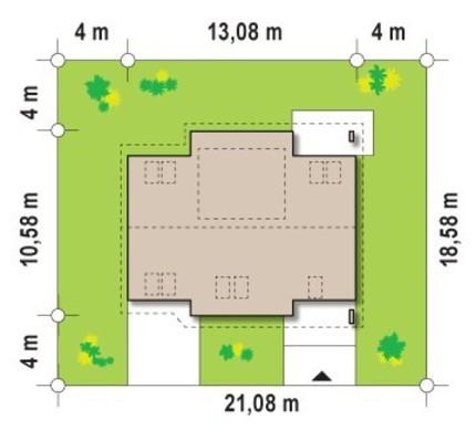 Проект коттеджа с жилой мансардой и гостевой спальней на первом этаже