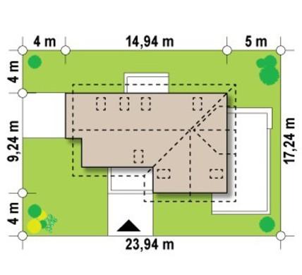 Проект 1,5-этажного дома с балконом над одинарным гаражом
