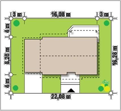 Проект комфортного одноэтажного коттеджа с гаражом и небольшой террасой