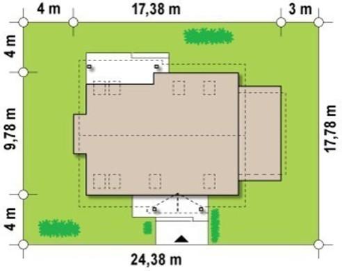 Проект двухэтажного коттеджа с пристроенным гаражом для 1-й машины