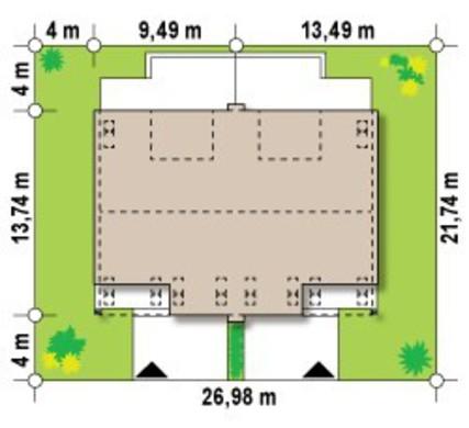 Проект двухэтажного симметричной планировки коттеджа на две семьи
