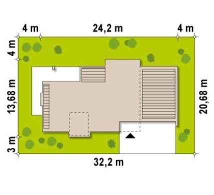 Проект двухэтажного коттеджа с плоской крышей и пристроенным гаражом