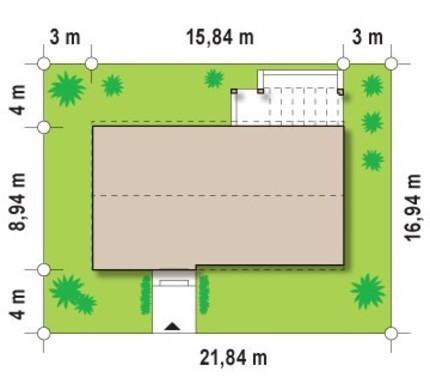 Проект современного одноэтажного коттеджа для узкого участка