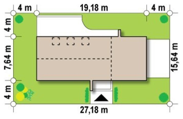 Проект современного дома для узкого участка с оригинальным фасадом
