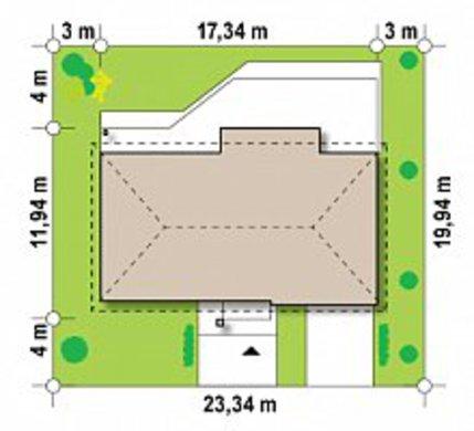 Версия проекта одноэтажки 4M090 с перепланировкой