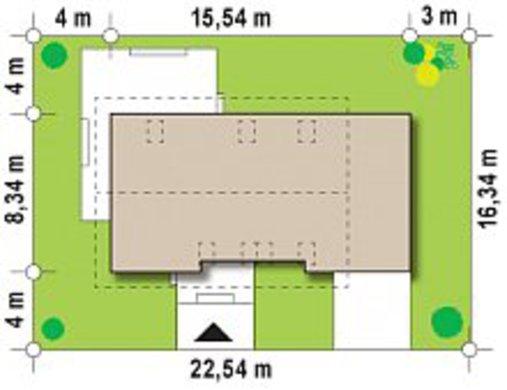 Проект дома с мансардой по типу 4M258 с гаражом для 1 авто