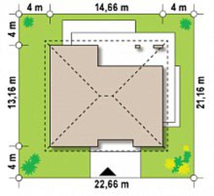 Одноэтажный коттедж с шикарной террасой и четырехскатной кровлей