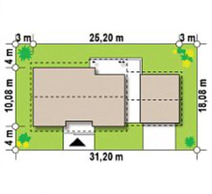 Одноэтажный коттедж с пристроенным гаражом и опрятной крышей