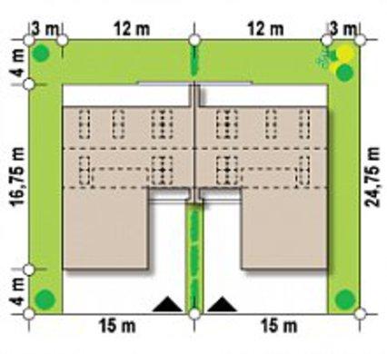 Проект таунхауса хай-тек с гаражами на 2-е машины