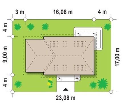 Загородный 1,5-этажный коттедж с угловым окном на кухне