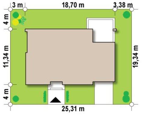Небольшой одноэтажный особняк с плоской крышей